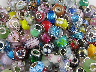 65+  Quality Murano Mixed Glass Beads Euro Style Charm Bracelets:value For Money
