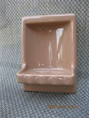 "CERAMIC High Backed SOAP DISH- Sandalwood- Wall Mount 6 1/2"" x 5"""