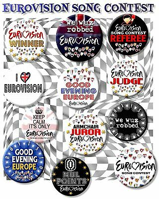 """Wonderful Eurovision Song Contest Party Pack Badges~ 25 Mm/ 1 """" Great Fun"""