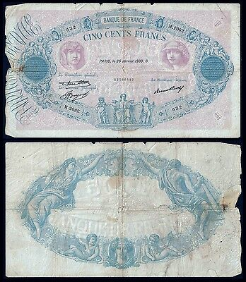France 500 Francs BLEU et ROSE 26.1.1933 P 66m VG