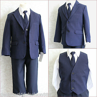 Gorgeous Navy blue boy wedding ring bearer  formal dress suit size 2T
