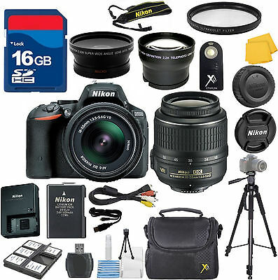 Nikon D5500 Digital SLR Camera + Nikon 18-55mm VR Zoom Lens + 2 Lens Starter Kit