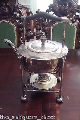 Antique Silver Plated Spirit Kettle, Warmer and Stand WS & S England[*]