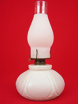 PLUME ATWOOD P&A Embossed Frosted Chimney Oil Lamp Parlor Banquet Milk Glass