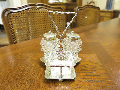 Cruet Set in Silver Plated Stand