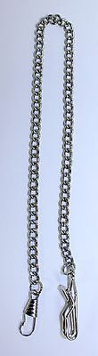 "Beautiful Vintage Silver Tone Link Pocket Watch Chain Fob Pendant 14"" c1970s"