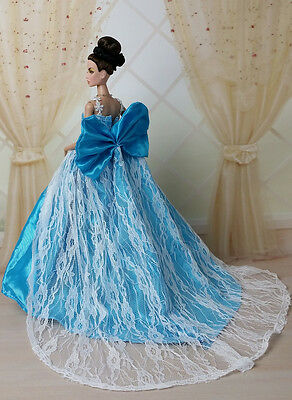 Blue Fashion Royalty Princess Party Dress/Clothes/Gown For Barbie Doll B156U
