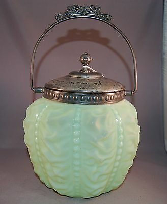 RARE Antique Green Beaded Drapery Art Glass Biscuit Jar/Cracker Barrell!