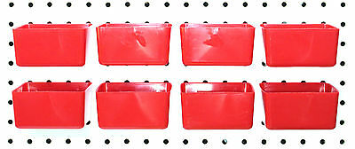 Plastic RED BOARD BIN 8 PACK Tool Workbench PEGBOARD NOT INCLUDED