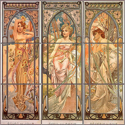 36 x 24 ceramic mural bath backsplash art deco tile for Art deco tile mural