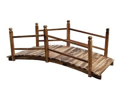 FoxHunter Garden Pond Water Bridge Wooden Stream Outdoor Oriental Feature Rail