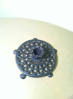 Antique Cast Iron Victorian Candle Holder-Ornate Round Footed Base-Flower?