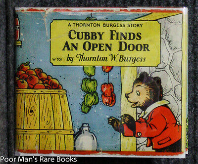 CUBBY FINDS AN OPEN DOOR Burgess, Thornton W Color Illustrations 1929 DJ Child's
