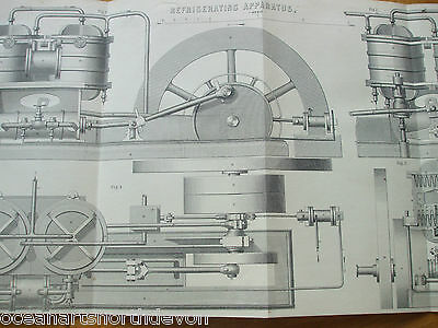 Antique Print C1880'S Refrigerating Apparatus Engraving Large Fold Out Print Art