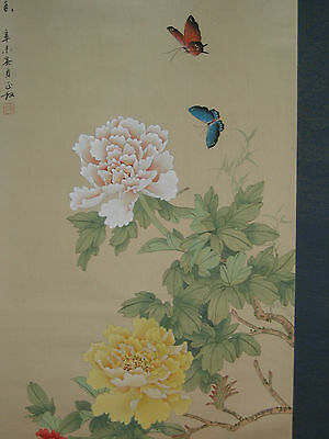 Vintage Japanese Peony Butterfly Sumi-E Ink Hand Painted Scroll Kakejiku 127