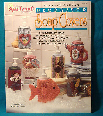 BUY3=FREESHIP  NEEDLECRAFT SHOP SOAP BOTTLE COVERS 7 DESIGNS PLASTIC CANVAS BOOK