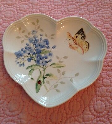 Lenox Butterfly Meadow Heart Party Plate White with Butterfly and Ladybug