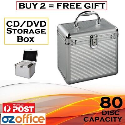 80 x CD DVD Blu Ray Aluminium Storage Box Lock Storage Case - BUY 2 = FREE GIFT!