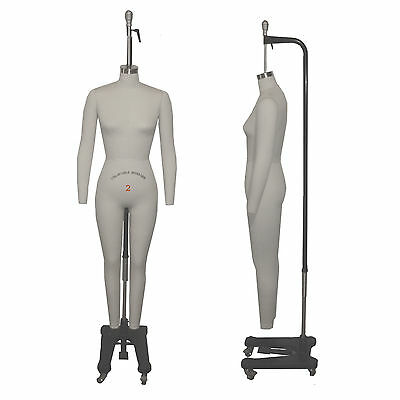 Full Body Professional Dress Form Size 2 Collapsible Shoulders & Removable Arms
