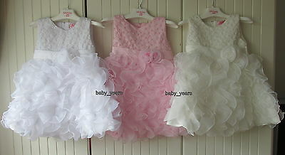 Girls Christening Flower Girl Bridesmaid Wedding Frilly Dress White Ivory Pink