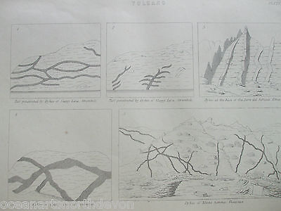 Antique Print Dated C1880's Volcano Illustrated Engraving Geology Science Art