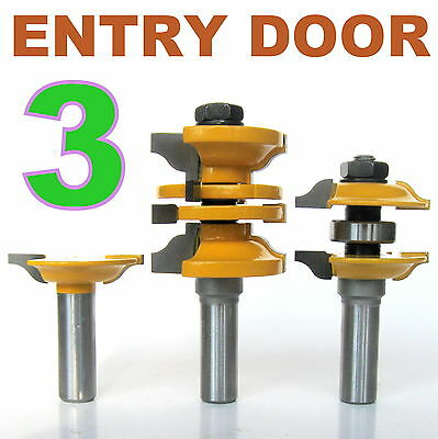 """3 pc 1/2"""" Shank Ogee Entry & Interior Door Matched R&S Router Bit Set"""