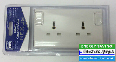 Single To Double Socket Converter 13Amp Switched White 1 Gang To 2 Gang