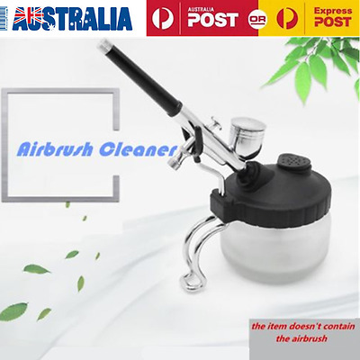 New Airbrush Cleaning Pot Glass Air Brush Holder Clean Paint Jar Bottle AU Stock