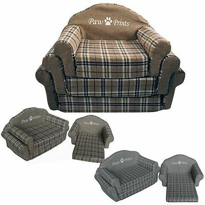 Pet Sofa Check Couch Bed Animal Cat Dog Warm Cosy Soft Cuddly Washable Basket