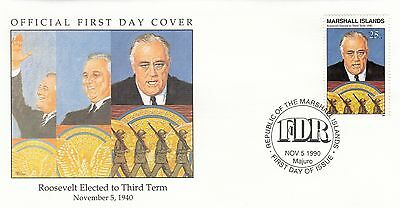 (41773) Marshall Is FDC WWII Roosevelt Elected Third Term 1990