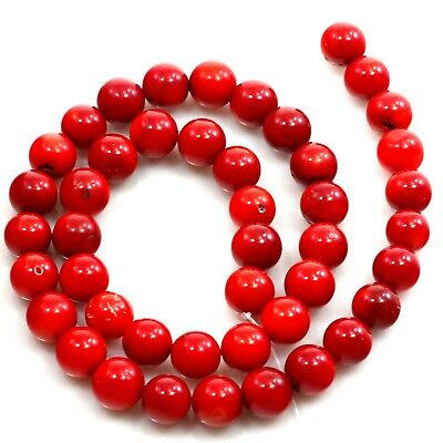 """10x10mm Red Natural Sea Coral Round Beads 15"""" for DIY JEWELRY (CO217)c"""