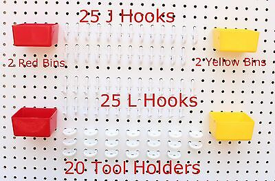 Plastic 74 pc KIT 25 J & L Hooks 20 Tool holders 4 Bins PEGBOARD NOT INCLUDED