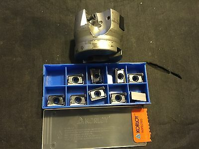 "2"" Used Milling Cutter w/ Box of Korloy LMNX151008PNR-MM PC5300 Carbide Inserts"