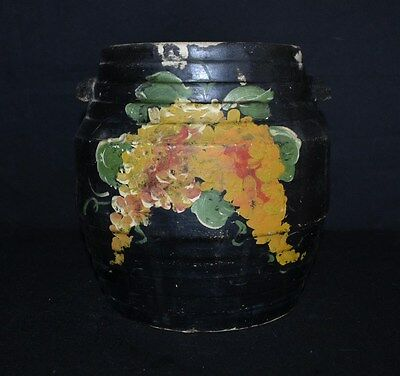 ThriftCHI ~ Antique Hand Painted Pottery Bean Pot w/ Yellow Florals