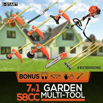 NEW 58CC 7 IN 1 Pole Chainsaw Whipper Snipper Hedge Trimmer Brush Cutter Saw