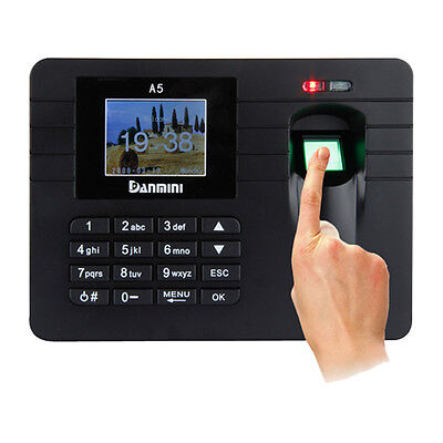 "Danmini 2.4"" TFT Biometric Fingerprint Time Attendance Machine 32Bit CPU Black"