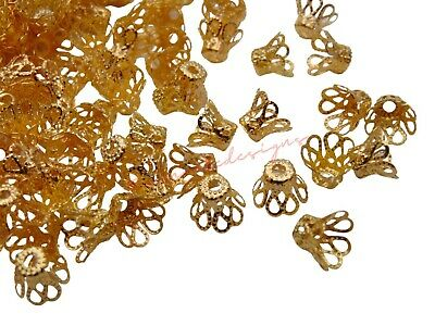 Gold Plated 7.5mm Filigree Style Bell Bead Caps Jewellery Craft Findings ML
