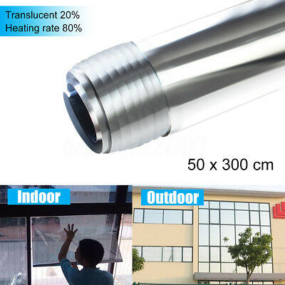 3 Meter MIRROR SILVER SOLAR REFLECTIVE WINDOW FILM ONE WAY PRIVACY TINT 50cm