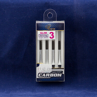 Fit Shaft Carbon by Cosmo Darts Slim Spinning White #3 24mm Use w/ Fit Flight