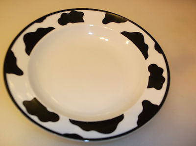 """Tienshan Spotted Cow White 7 3/4"""" Rimmed Soup Bowl(3)"""