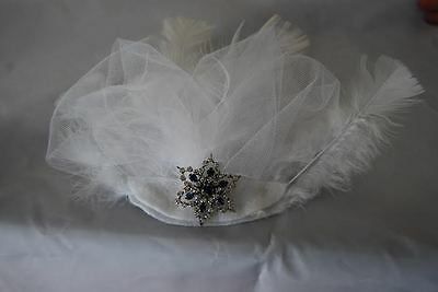White Feather Fascinator with Blue Star Bling
