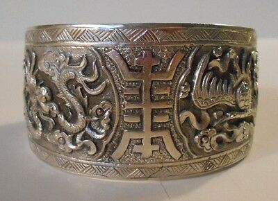 ANTIQUE CHINESE EXPORT SILVER QING DYNASTY 4 LING BRACELET