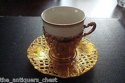 Coffee set of  6 gold toned silverplate in relief cups and saucers, Japan,NIB[4]