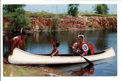 Native American Indians in Canoe at Pipestone Nat'l Monument MN 1955