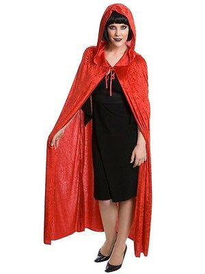 New Long Red Riding Hood Hooded Cape Adult Velvet Fancy Dress Costume