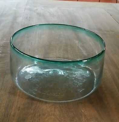 Hand Blown Glass Bowl With Blue Rim