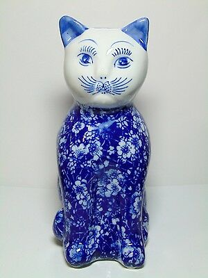 Vintage Chinese PORCELAIN CAT STATUE Blue White Floral Sitting Hand Painted Face