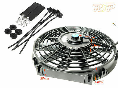 "14"" Universal Slim Electric Radiator/Intercooler Fan & Fitting Kit 14 Inch 12V"