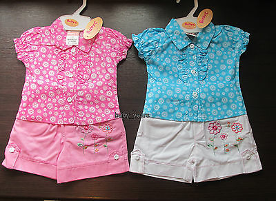 Baby Girls Shorts And Shirt Top Set 2 Piece Summer Clothing Outfit 0-3 3-6 6-9M