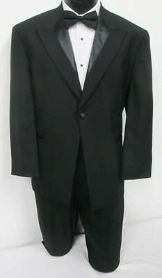 Black One Button Peak Tuxedo Jacket Wedding Prom Formal *Free Shipping* 42R